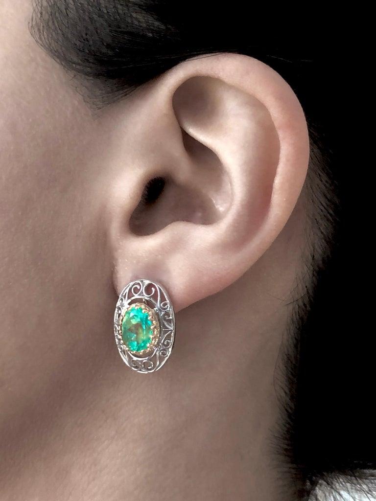 Victorian Colombian Natural Emerald Platinum  18 Karat Gold Drop Earrings For Sale