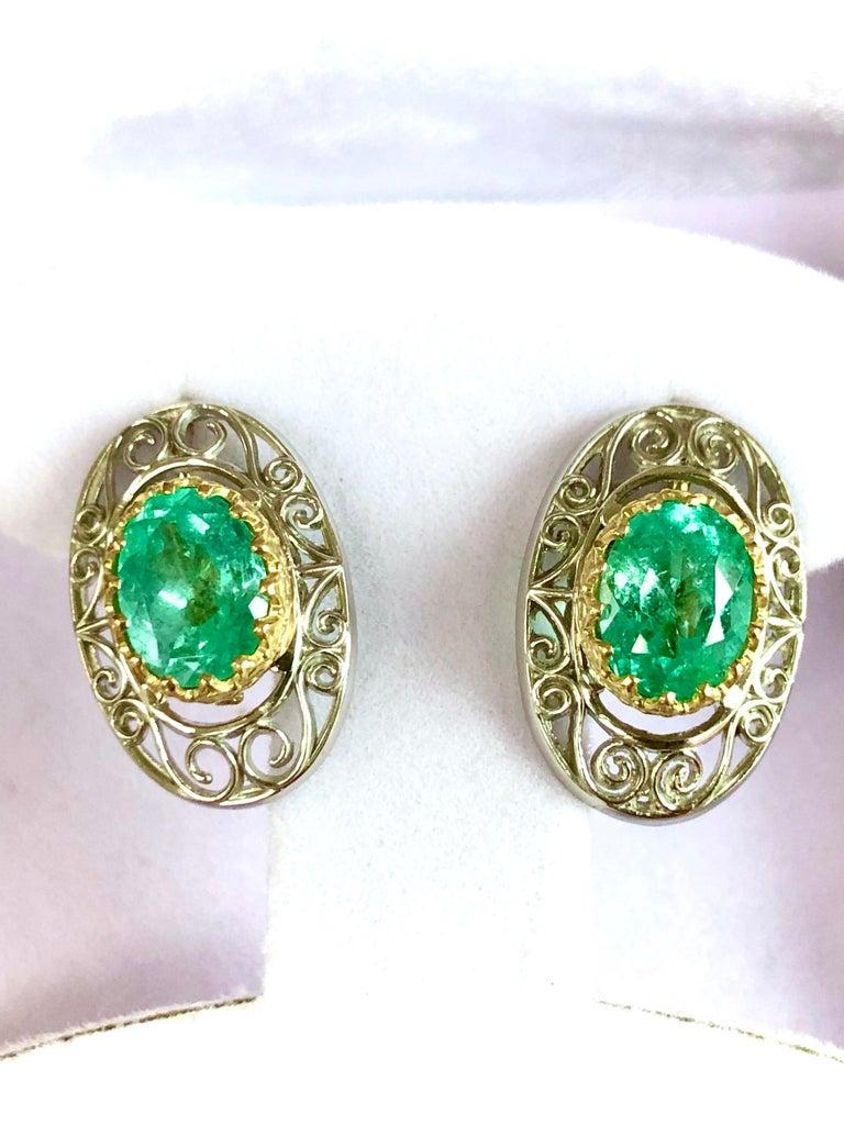 Oval Cut Colombian Natural Emerald Platinum  18 Karat Gold Drop Earrings For Sale