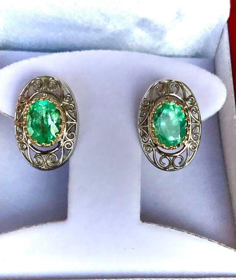 Colombian Natural Emerald Platinum  18 Karat Gold Drop Earrings For Sale 3