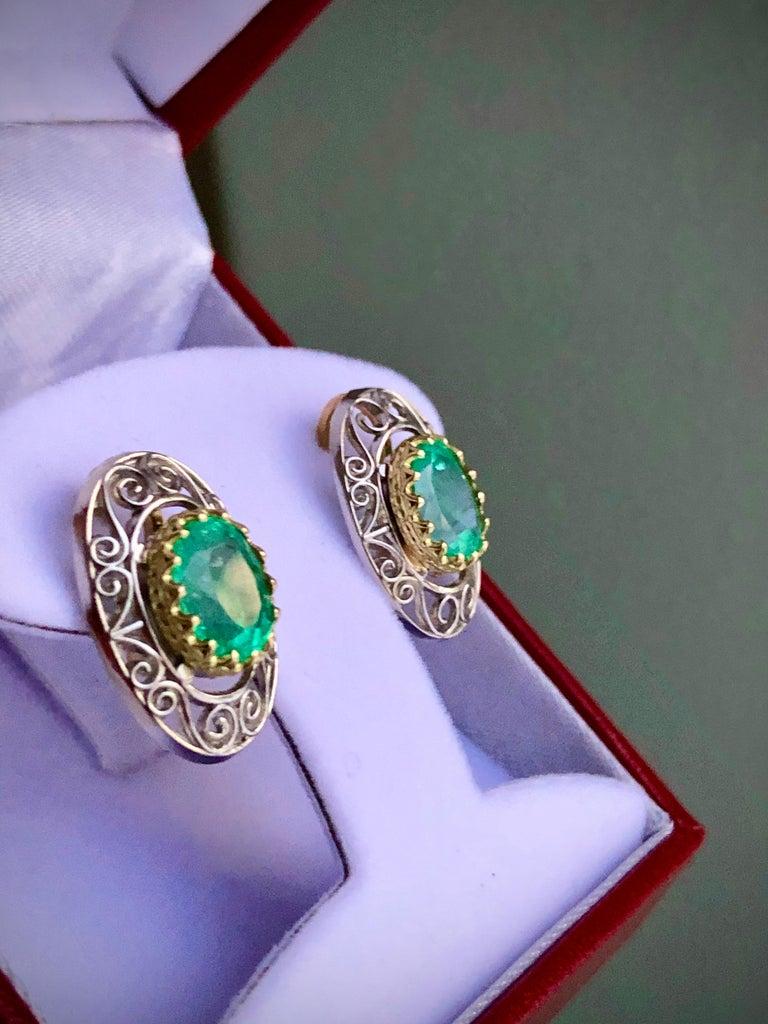 Colombian Natural Emerald Platinum  18 Karat Gold Drop Earrings For Sale 2
