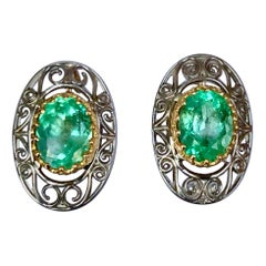Antique Style Emerald 18 Karat Gold Platinum Drop Earrings