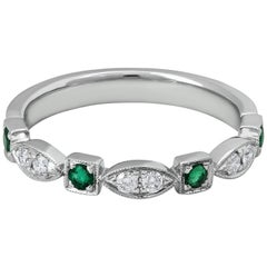 Antique Style Emerald and Diamond Wedding Band in 18 Karat White Gold