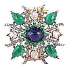 Antique Style Emerald Blue Sapphire Diamond Brooch