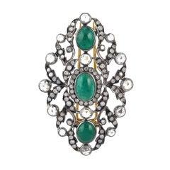 Antique Style Emerald Diamond Brooch