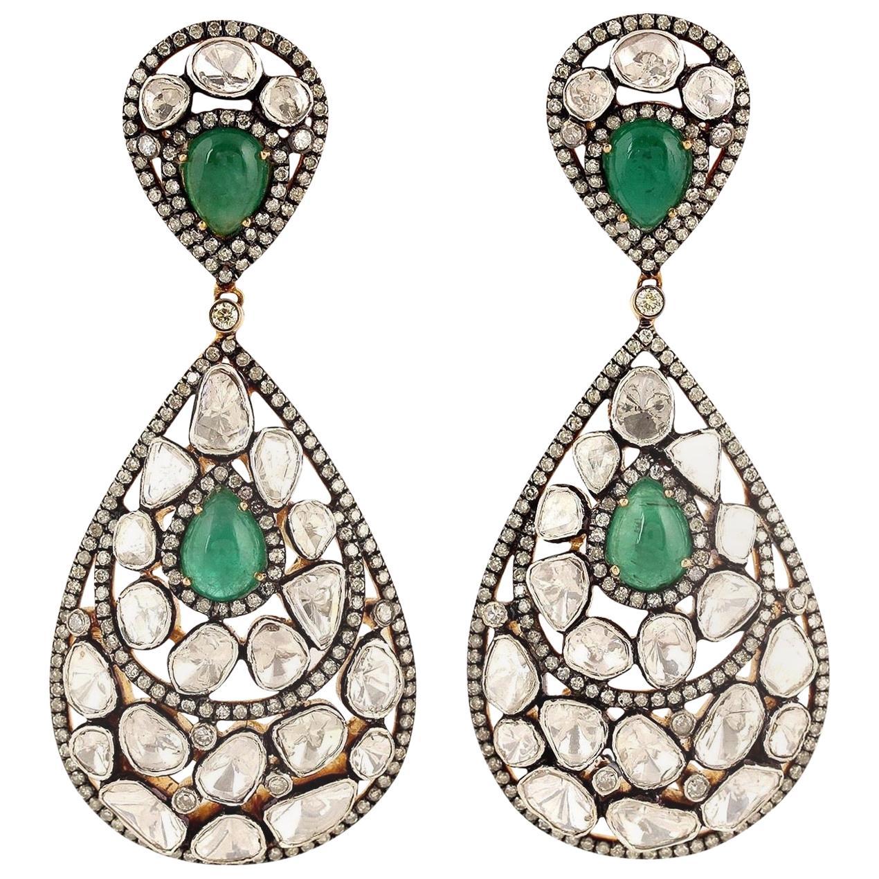 Antique Style Emerald Rose Cut Diamond Earrings