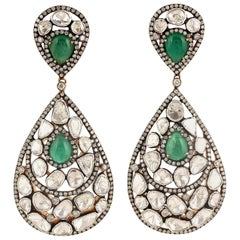 Antique Style Emerald Rose Cut Diamond Earrings