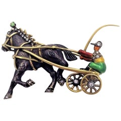 Antique Style Enamel Equestrian Trotter Brooch with Diamonds & Demantoid Garnet