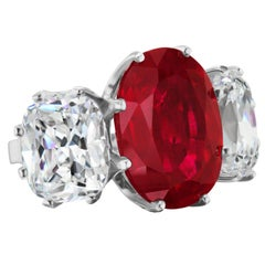 Antique Style Faux Pigeon Blood Ruby Cushion Cut CZ Sterling Ring