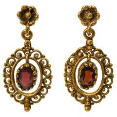 Antique Style Garnet 14 Karat Yellow Gold Earrings
