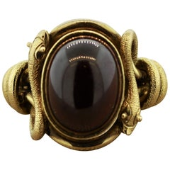 Antique Style Garnet Gold Snake Cocktail Ring