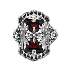 Antique Style Garnet Sterling Silver Ring