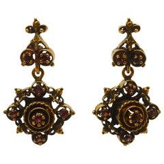 Victorian Style Garnet Yellow Gold Medallion  Earrings