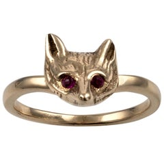 Antique Style Gold Fox with Ruby Gem Eyes UK Hallmarked Custom Animal Jewelry