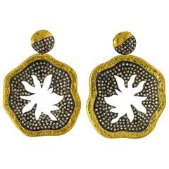 Antique Style Hammered 18 Karat Gold Palm 3.63 Carat Diamond Earrings