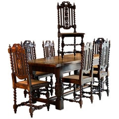 Antique Style Oak Refectory Table and Six Carolean Dining Chairs Set 2