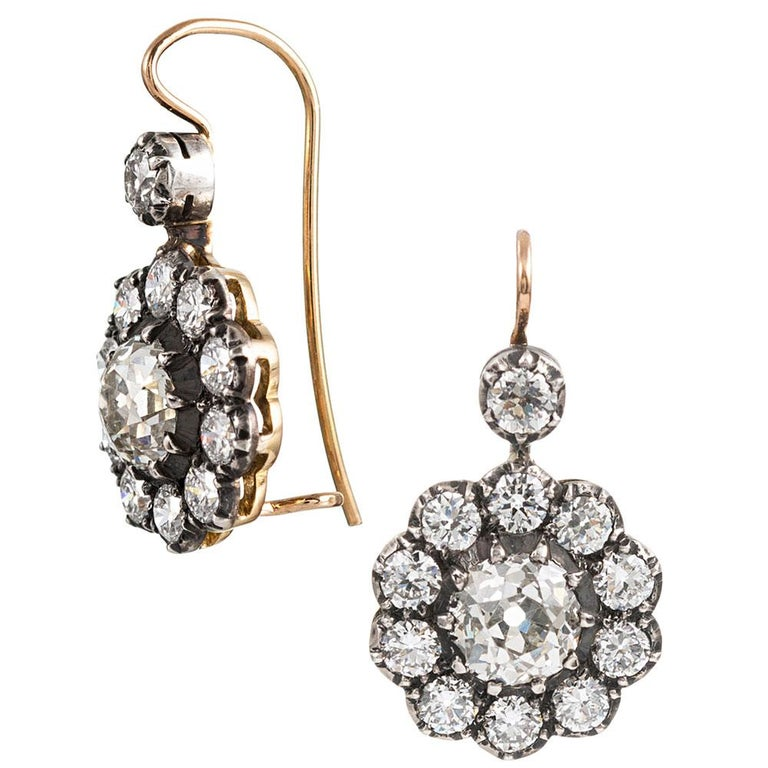 Antique Style Old European Cut Diamond Cluster Drop Earrings In New Condition For Sale In Carmel-by-the-Sea, CA