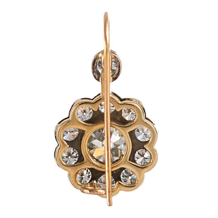 Women's Antique Style Old European Cut Diamond Cluster Drop Earrings
