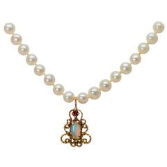 Antique-Style Opal Ruby Yellow Gold Charm Pendant on Pearl Necklace
