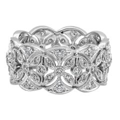 Antique-Style Open-Work Round Diamond Fashion Ring
