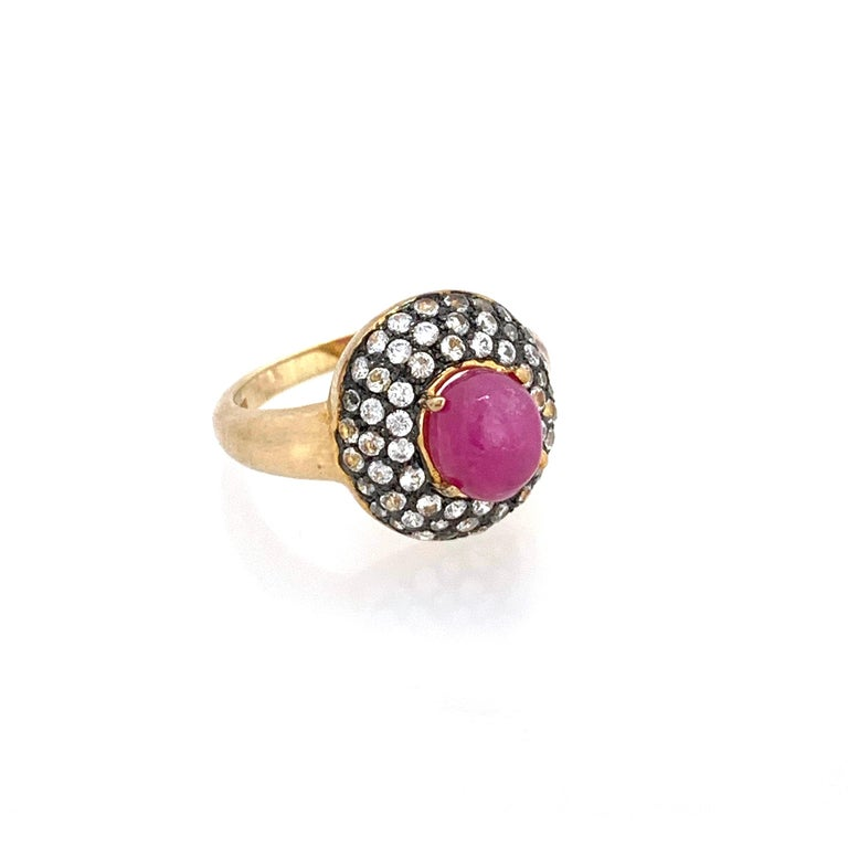 Contemporary Antique-style Oval Ruby and White Topaz Bombe Cocktail Ring For Sale