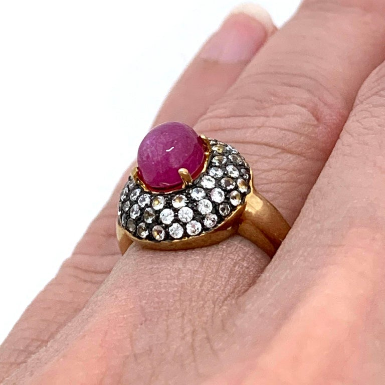 Oval Cut Antique-style Oval Ruby and White Topaz Bombe Cocktail Ring For Sale