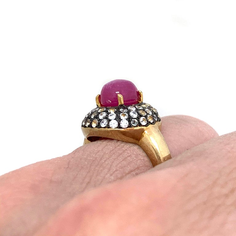 Antique-style Oval Ruby and White Topaz Bombe Cocktail Ring In New Condition For Sale In Los Angeles, CA