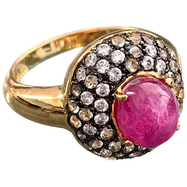 Antique-style Oval Ruby and White Topaz Bombe Cocktail Ring For Sale