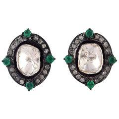 Antique Style Rose Cut Diamond Emerald Stud Earrings