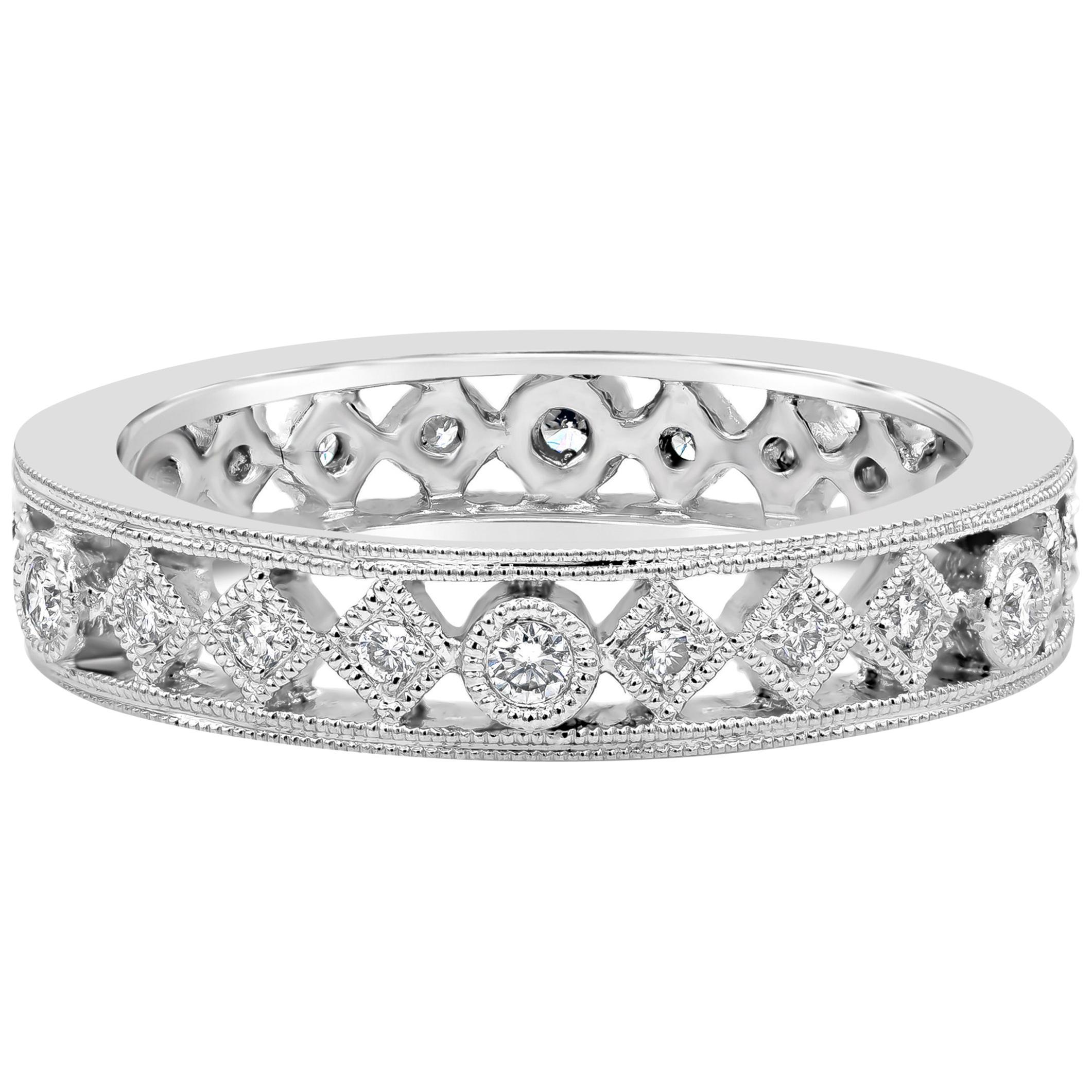 Roman Malakov Antique Style Round Diamond Fashion Ring