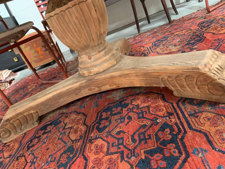 Reclaimed Wood Antique-Style Round Dining Table For Sale