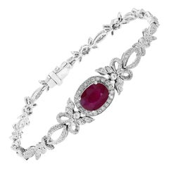 Antique Style Ruby Bracelet 2.75ct Ruby with .78ct of Diamonds in 18 Karat White