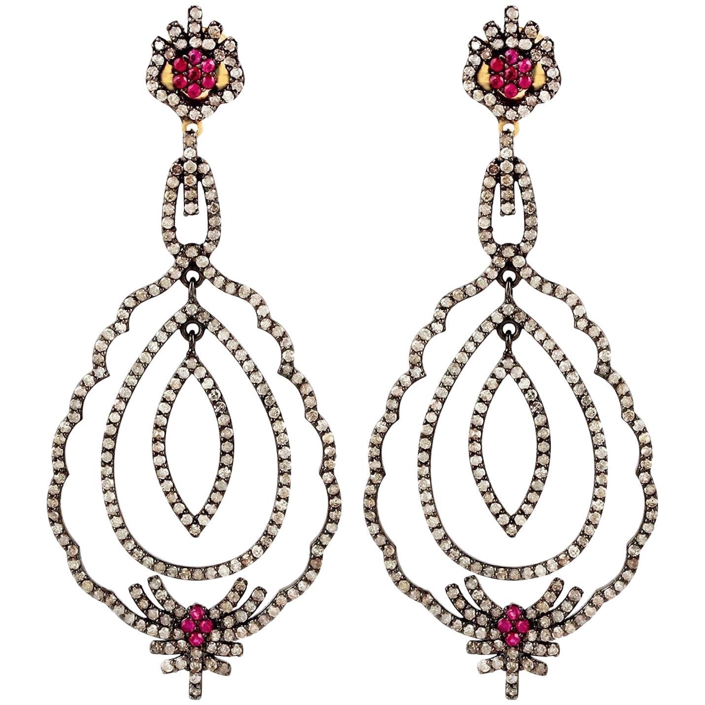Antique Style Ruby Diamond Earrings