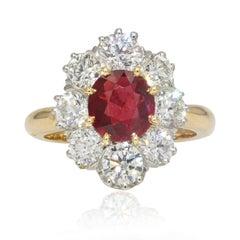 Antique Style Ruby Diamonds 18 Karat Yellow Gold Platinum Daisy Ring