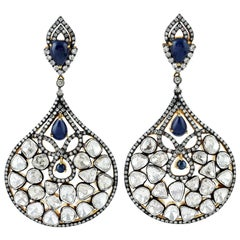 Antique Style Sapphire Rose Cut Diamond Mughal Earrings
