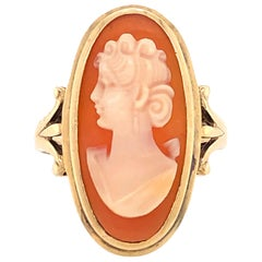Antique Style Shell Cameo Yellow Gold Ring