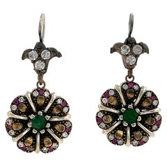 Antique Style Sterling Silver Emerald Ruby and CZ Flower Drop Earrings 1990s