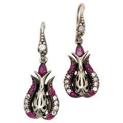 Antique Style Sterling Silver Ruby and Simulated Diamond Drop Earrings 1990s