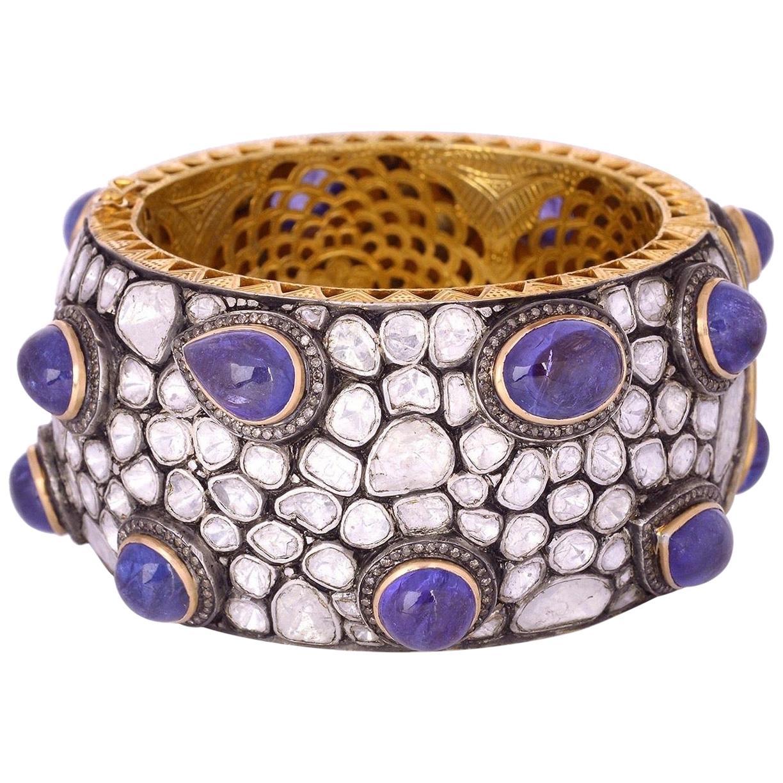 Antique Style Tanzanite Diamond Bracelet Cuff