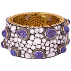 Antique Style Tanzanite Diamond Bracelet Cuff