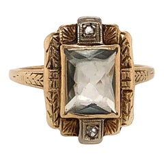 Antique Style Topaz Yellow Gold Ring with Diamond Accents