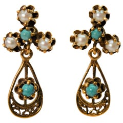 Antique Style Turquoise Pearl Tear Drop Earrings