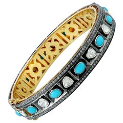 Antique Style Turquoise Rose Cut Diamond Bangle Bracelet