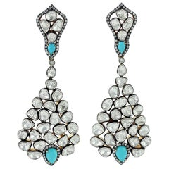 Antique Style Turquoise Rose Cut Diamond Earrings