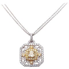 Antique Style Yellow Diamond Pendant Necklace