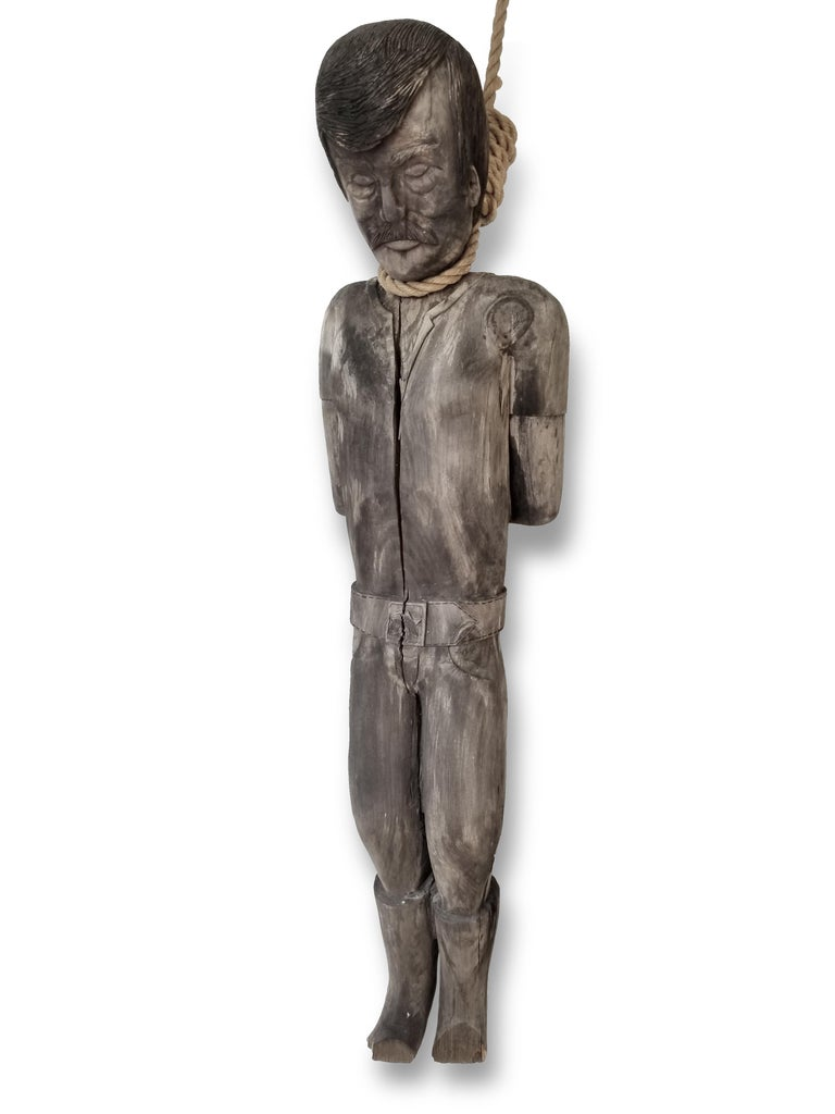 19th Century Antique Styled Folk Art Carved and Painted Wood Figure Hanging Sheriff Study For Sale