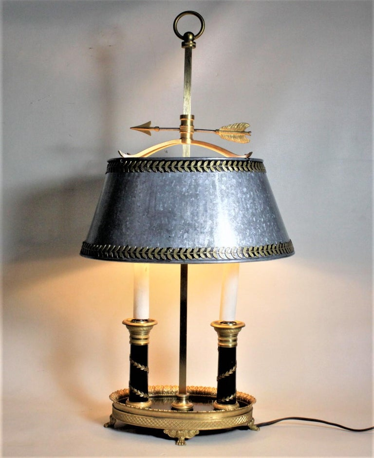 French Provincial Antique Styled French Toleware Table or Desk Lamp with Solid Brass Frame For Sale