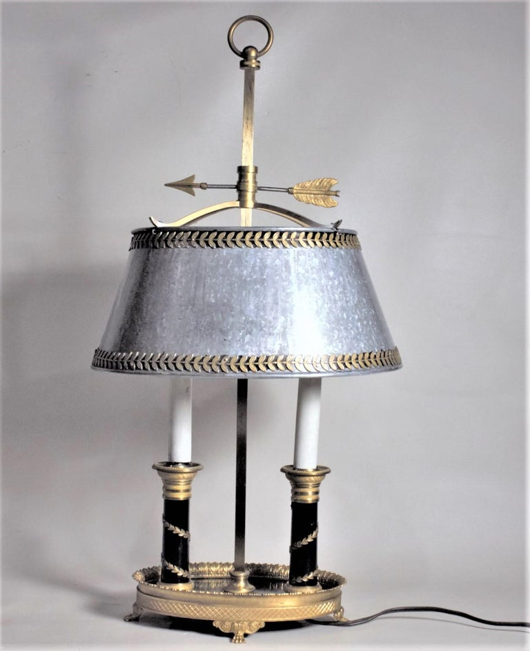 Molded Antique Styled French Toleware Table or Desk Lamp with Solid Brass Frame For Sale
