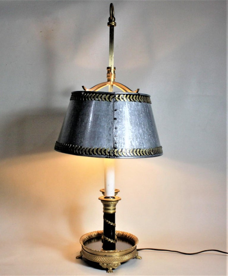 20th Century Antique Styled French Toleware Table or Desk Lamp with Solid Brass Frame For Sale