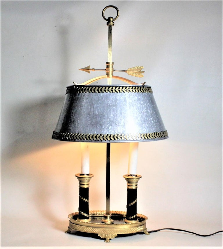 Metal Antique Styled French Toleware Table or Desk Lamp with Solid Brass Frame For Sale
