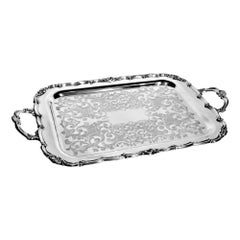 Antique Styled Silver Plated Serving Tray with Ornate Engraving & Handles